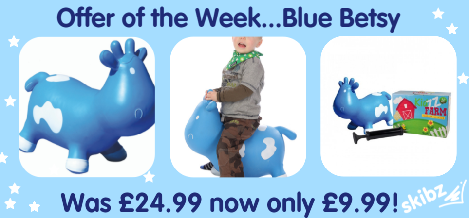 Blue bouncy inflatable ride on cow space hopper toy