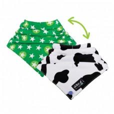 Skibz Doublez Popperz Bandana Bib, Cow Print/Star Bright